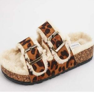 Leopard Furry Cork Sandals